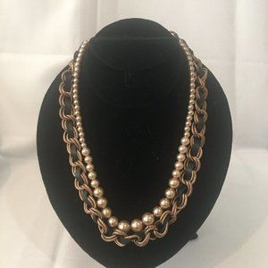 Loft Copper Chain Pearl Ribbon 2 Strand Necklace